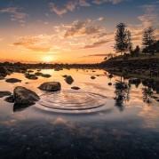 reflexie, water, stenen